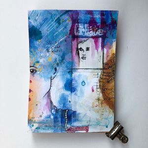 Handmade art journal pages using sketches