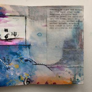 Handmade art journal book adding text