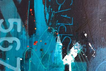 Black and blue abstract art by Kore Sage