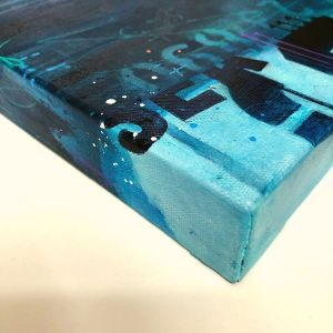 Night Sounds Deep Blue painting edge view