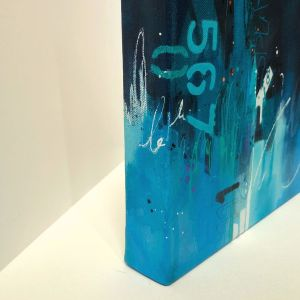 Side view of A Dash of Salt Deep blue painting