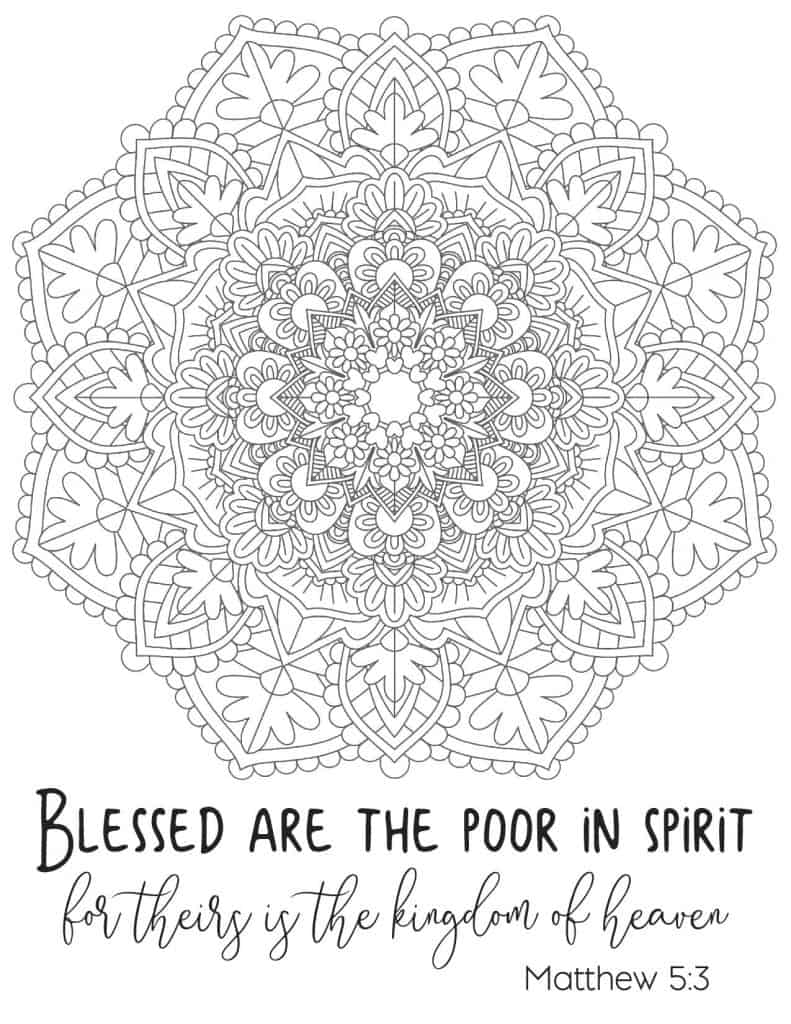 Free Printable Beatitude Coloring Page for Adults