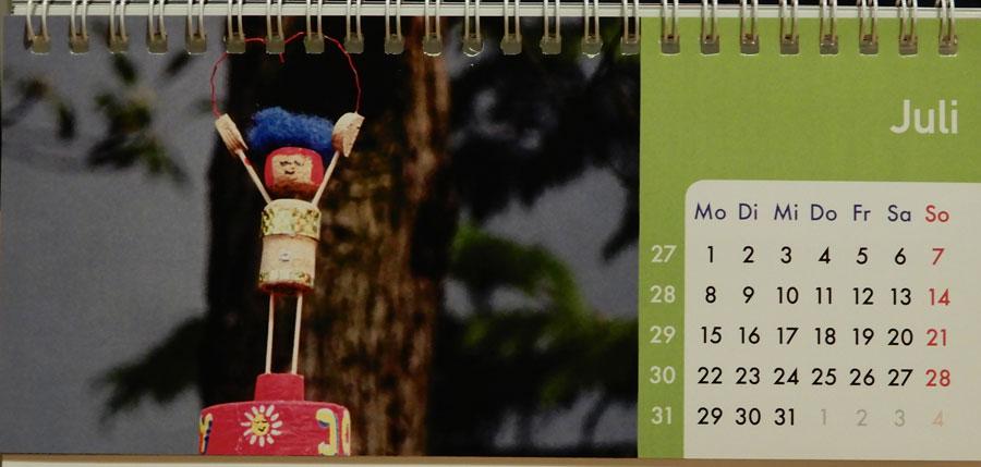 Korkmännchen Kalender 2019 Juli