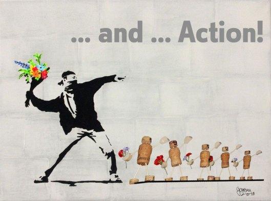 Blumenwerfer à la Banksy