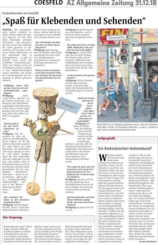 """Artikel in Allgemeine Zeitung aus Coesfeld vom 31.12.2018 """"Spaß für Klebenden und Sehenden"""""""