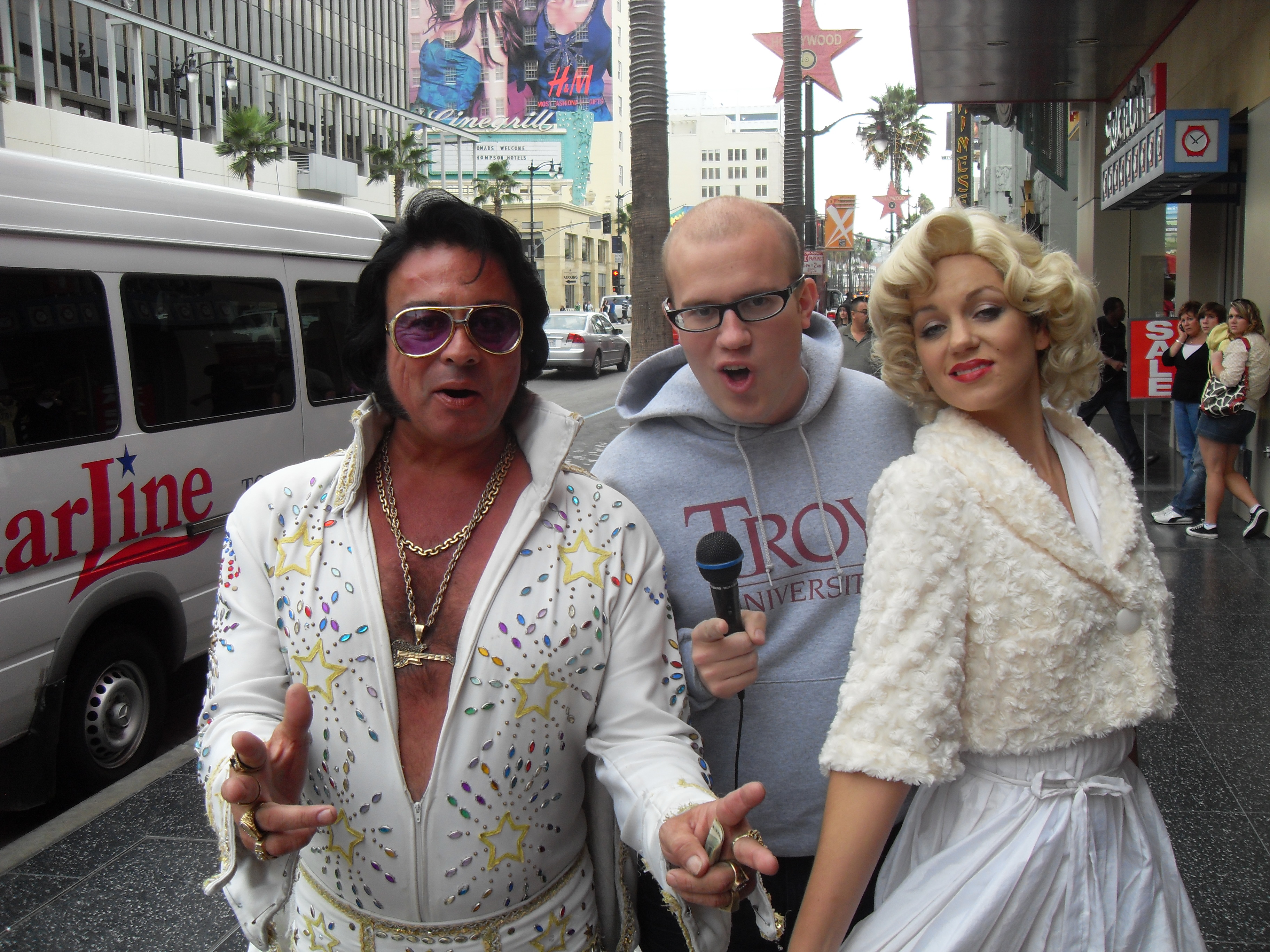 With my friends Elvis and Marilyn on Hollywood Boulevard