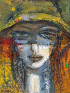 """Autumn Sunset"" Original large size figurative painting of a lady in a yellow with sunset colours across her face. It is a portrait of no-one in particular and shows her head and neck. she has very large eyes and the painting is in a very expressionist style."