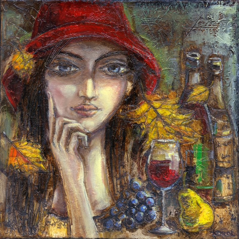 Original painting of a lady in a red hat. She stares deep in thought with her finger resting on her rosy cheek. There is a glass of wine and some fruit pictured beside her. Autumn leaves are blowing around her.