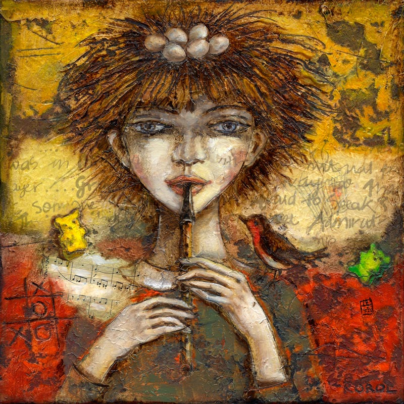 Painting of a girl with eggs on her head, a symbolism of fertility. She is playing a whistle or flute and a bird is sitting on her shoulder. In the background are strewn music sheets and yellow and red gummy bears scattered. Colours of print are orange and red.
