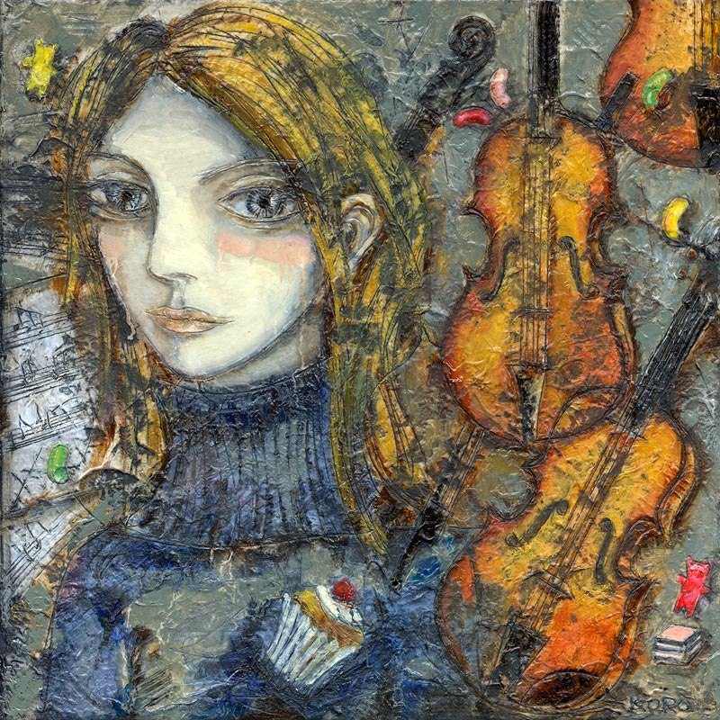 Portrait painting of girl pictured with violins and cupcakes