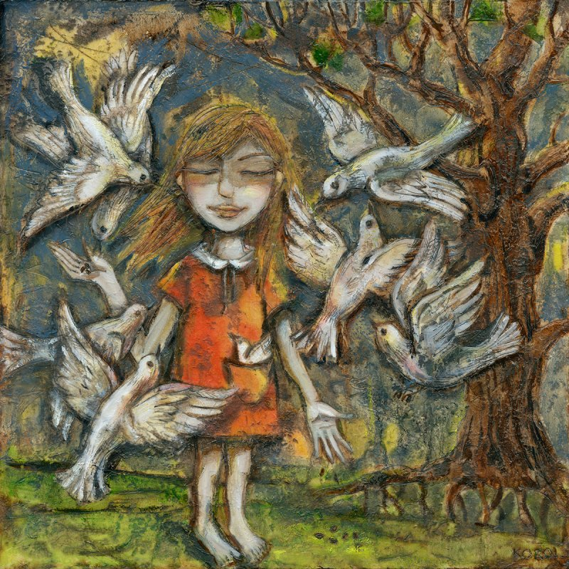 Print from original painting of a girl in the forest surrounded by white doves. Calm and Tranquil.
