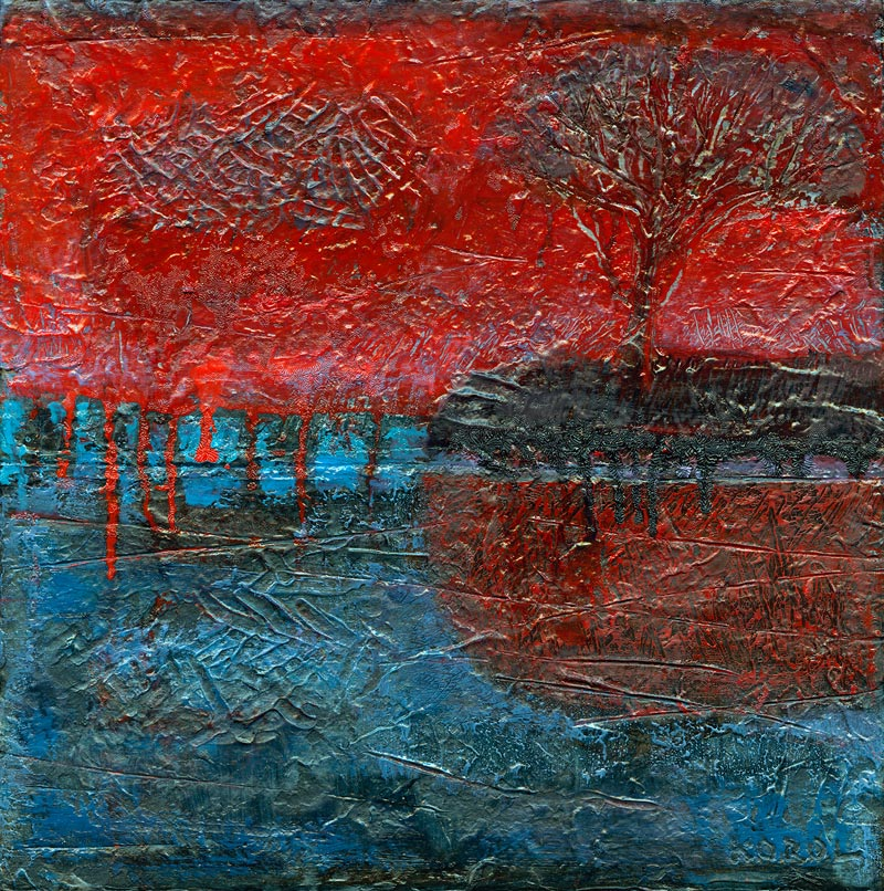 landscape with crimson red painting