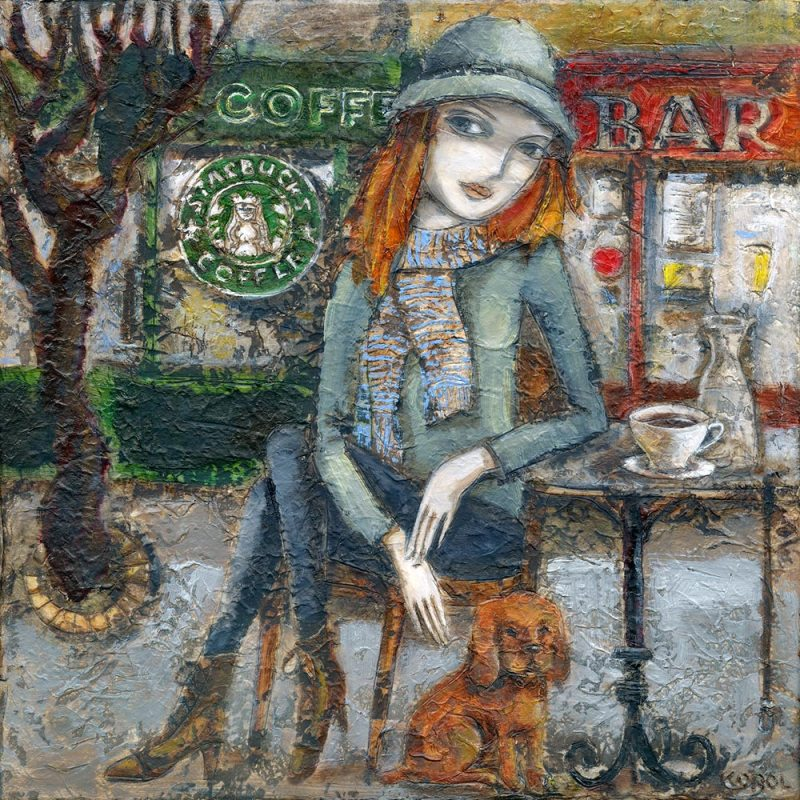 Painting of Starbucks in Dublin. Irish girl, Cailin with her puppy dog. Print