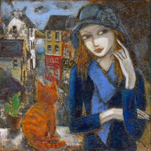 Painting of Lady and Cat. Dressed in blue scarf, jumper and hat.