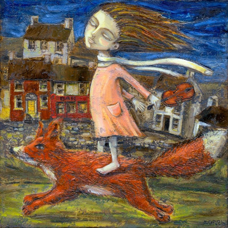 A young girl flies through night in a dream riding on the back of a fox. She has her eyes closed as is blissfully unaware of her surroundings, instead she revels in the feeling of the wind on her face.