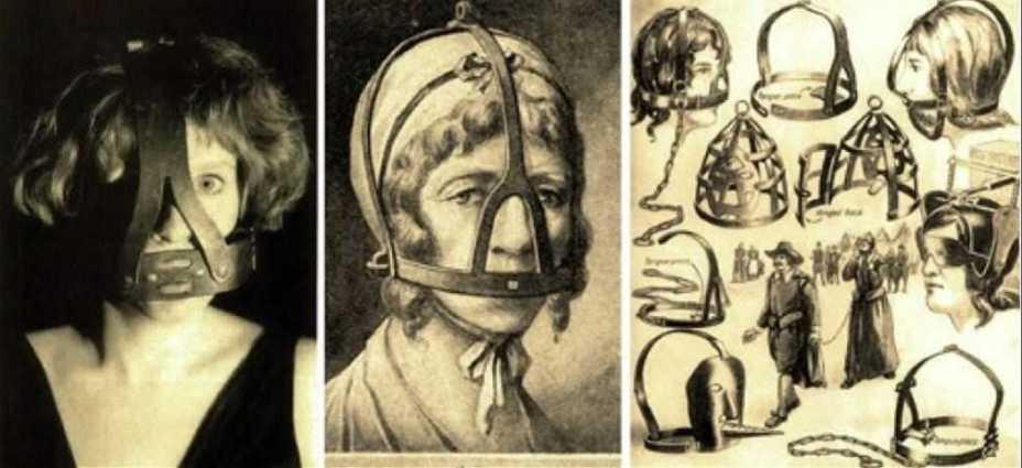 Железная маска, плотно облегающая голову, надевалась на женщин в качестве наказания за болтовню и сплетни.