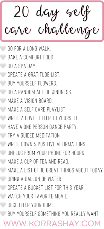 20 day self care challenge!