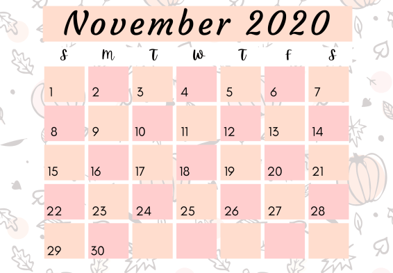 November 2020 free printable calendar
