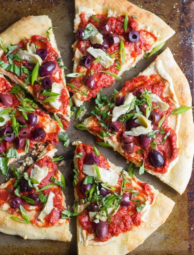 Greek Pizza with Kalamata Olives and Feta