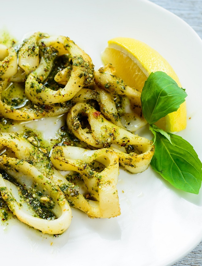 Squids with Basil, Almonds & Olive Oil