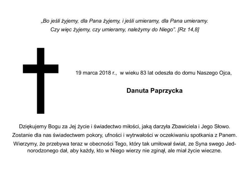 Zmarła s. Danuta Paprzycka