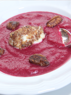 Roasted Beet Soup with Fried Goat Cheese Medallion and Candied Pecans