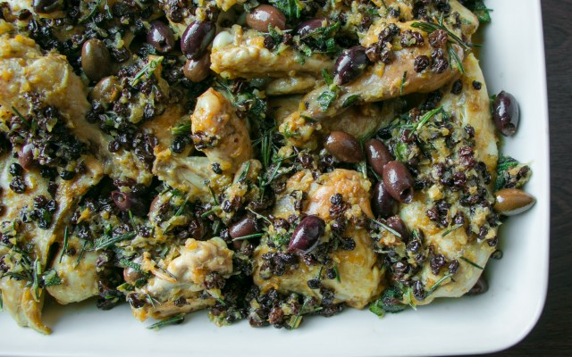 Chicken with Currants, Olives and Herbs