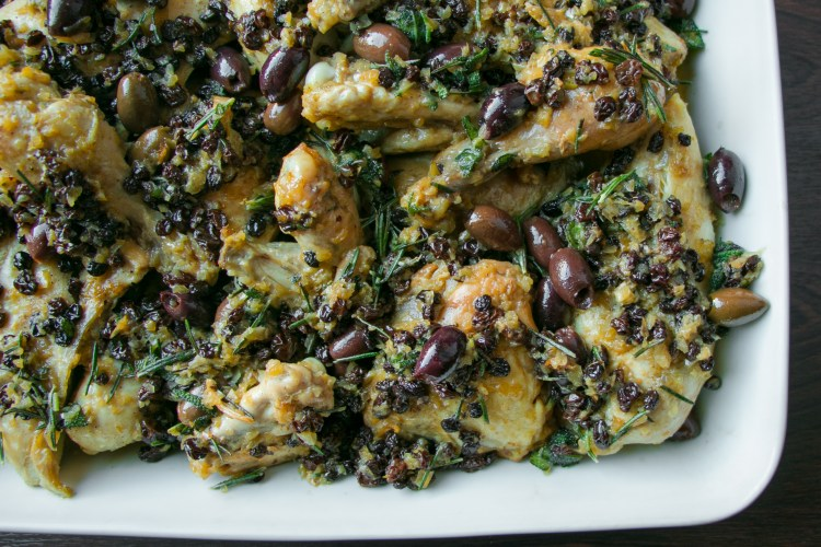 Chicken with Currants, Pine Nuts and Olives