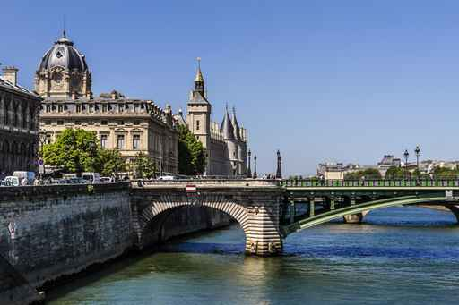 View of the embankment of river Seine. Paris, France.