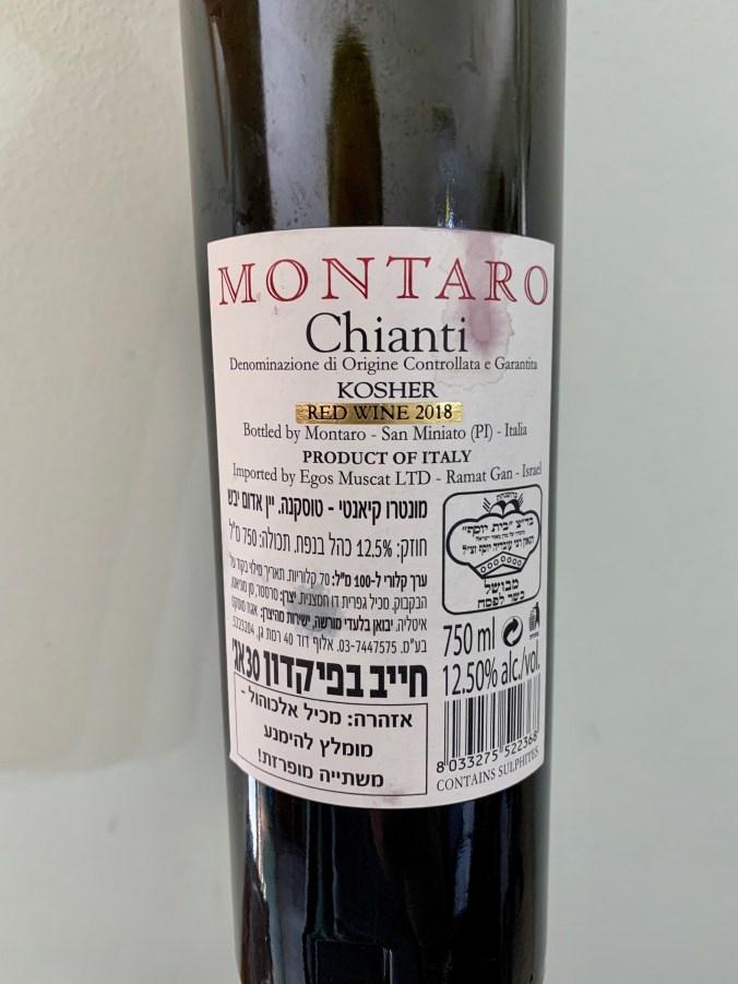 2018 Montaro Chianti (Back Label)