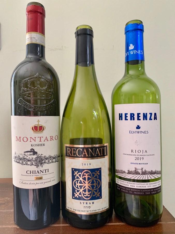 2018 Montaro Chianti; 2019 Recanati Syrah; 2019 Elvi Herenza Rioja Semi-Crianza
