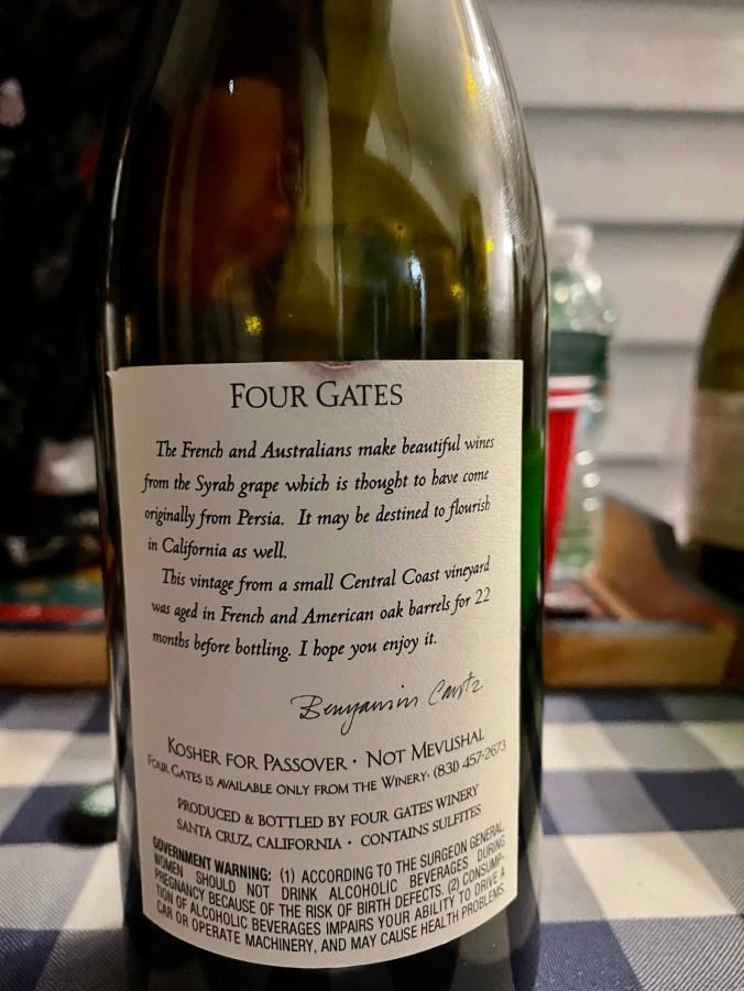 2010 Four Gates Syrah (Back Label)