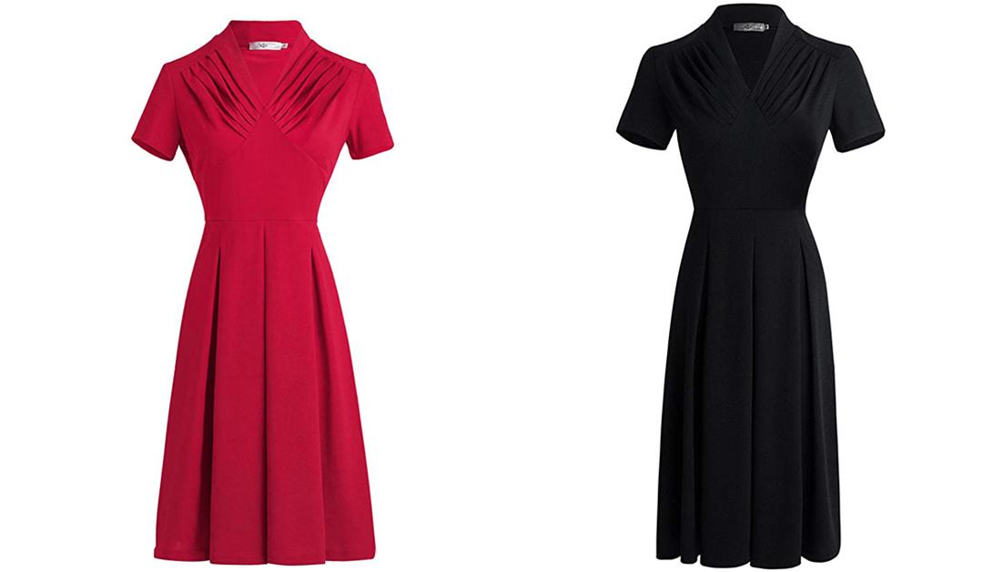 Amazon | BEST PRICE + COUPON: Vintage Waist Fold Dress