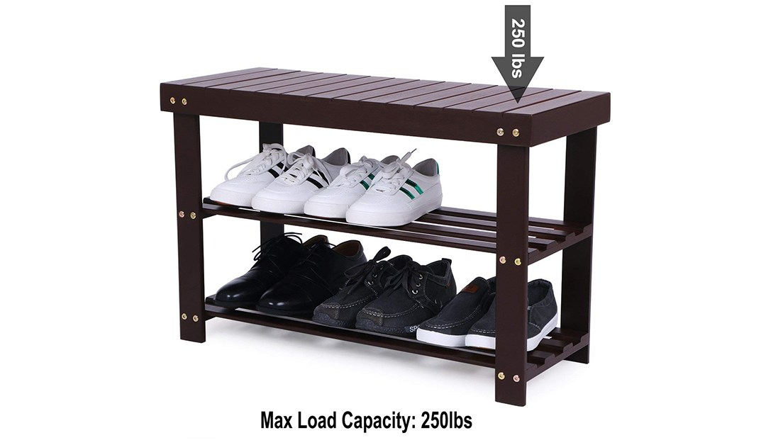 Amazon | BEST PRICE: 2-Rack Bamboo Shoe Rack Bench