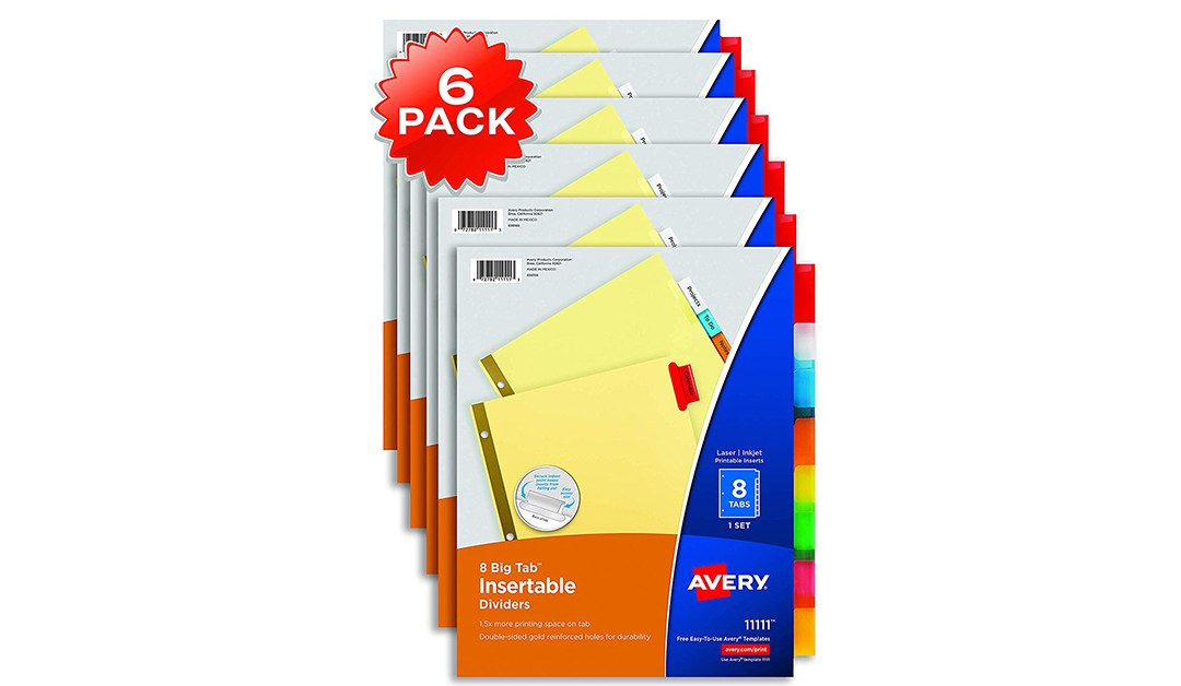 Amazon   BEST PRICE: Avery 8 Tab Binder Dividers, 6-Pack
