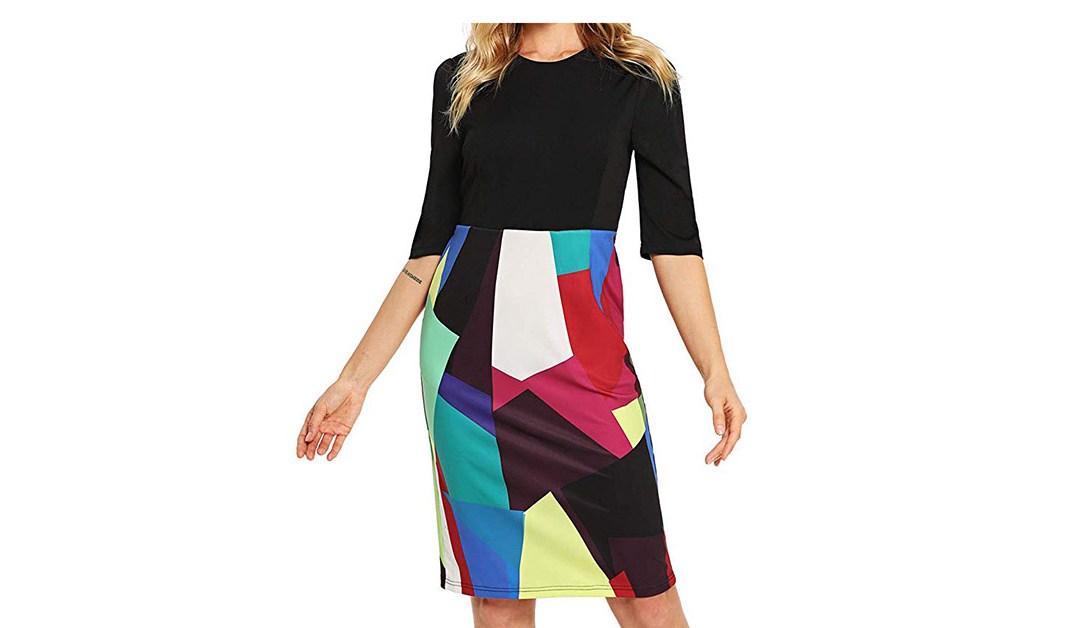 Amazon | BEST PRICE + COUPON: Floerns Multi-Color Pencil Dress