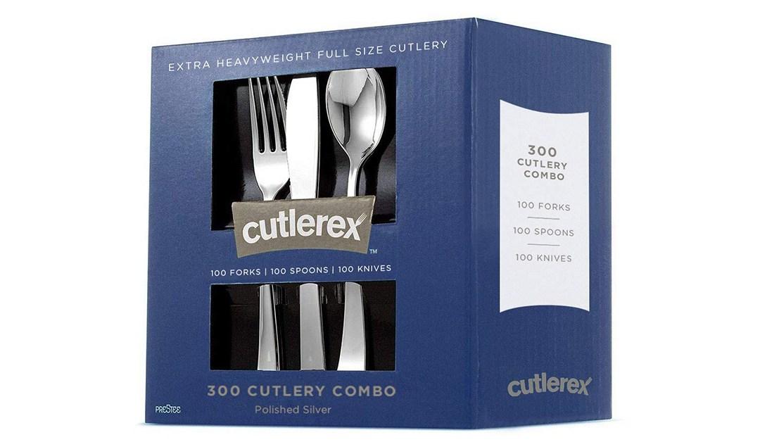 Amazon | BEST PRICE: 300 Piece Set of Silver Plastic Cutlery