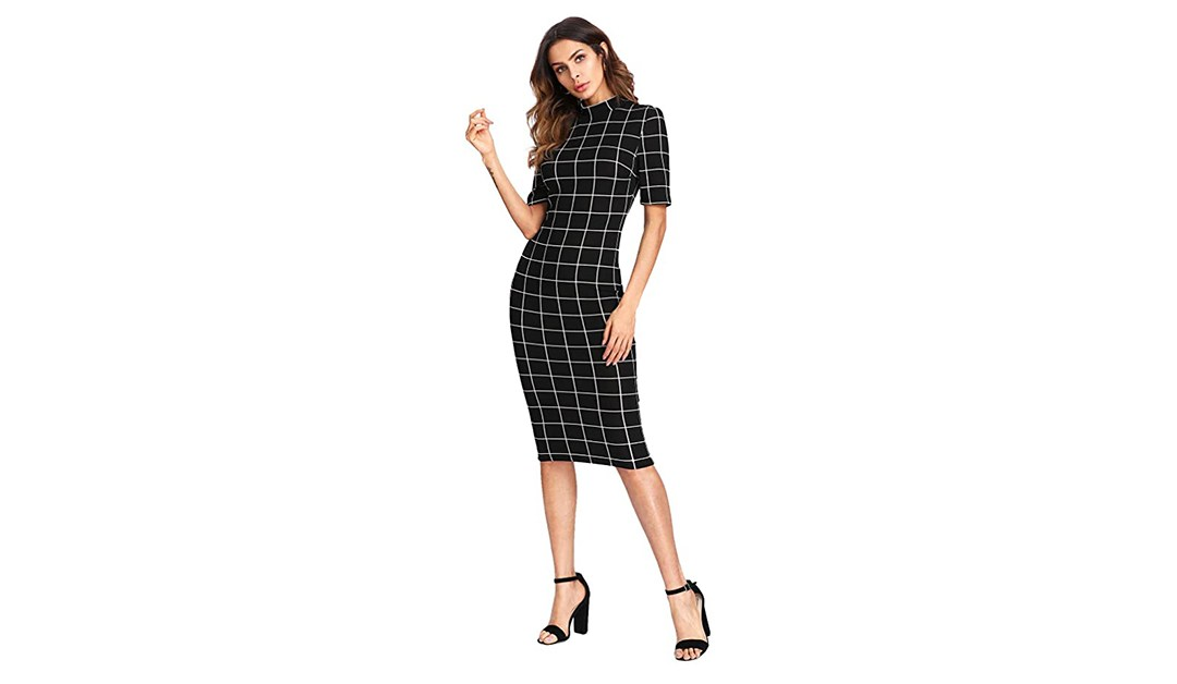 Amazon | CLOTHING FIND: Floerns Women's Short Sleeve Gingham Bodycon Business Pencil Dress
