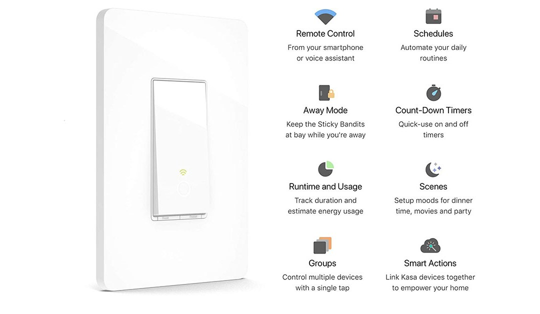 Amazon   BEST PRICE: Kasa Smart HS200 Light Switch by TP-Link, Single Pole, Needs Neutral Wire, 2.4Ghz Wi-Fi Light Switch Works with Alexa and Google Assistant, UL Certified, 1-Pack, White