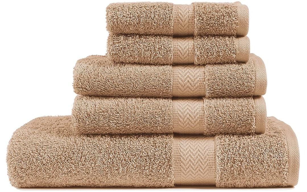 Amazon | GOOD DEAL: 5 Piece Beige Bath Towel Set, 100% Combed Cotton Towels, Shower Towel, 600 GSM Luxury Bath Towels, Plush and Absorbent Bathroom Towel Set, (1 Bath Towel 2 Hand Towels 2 Washcloths)