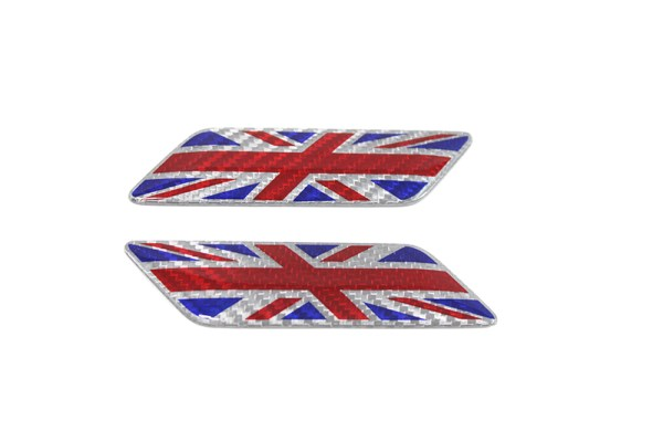 Carbon fiber Britain flag fender emblem