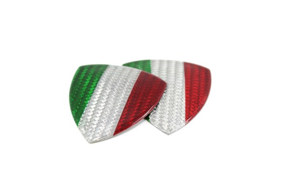 White Carbon fiber Fender shield emblem w/ Italia flag