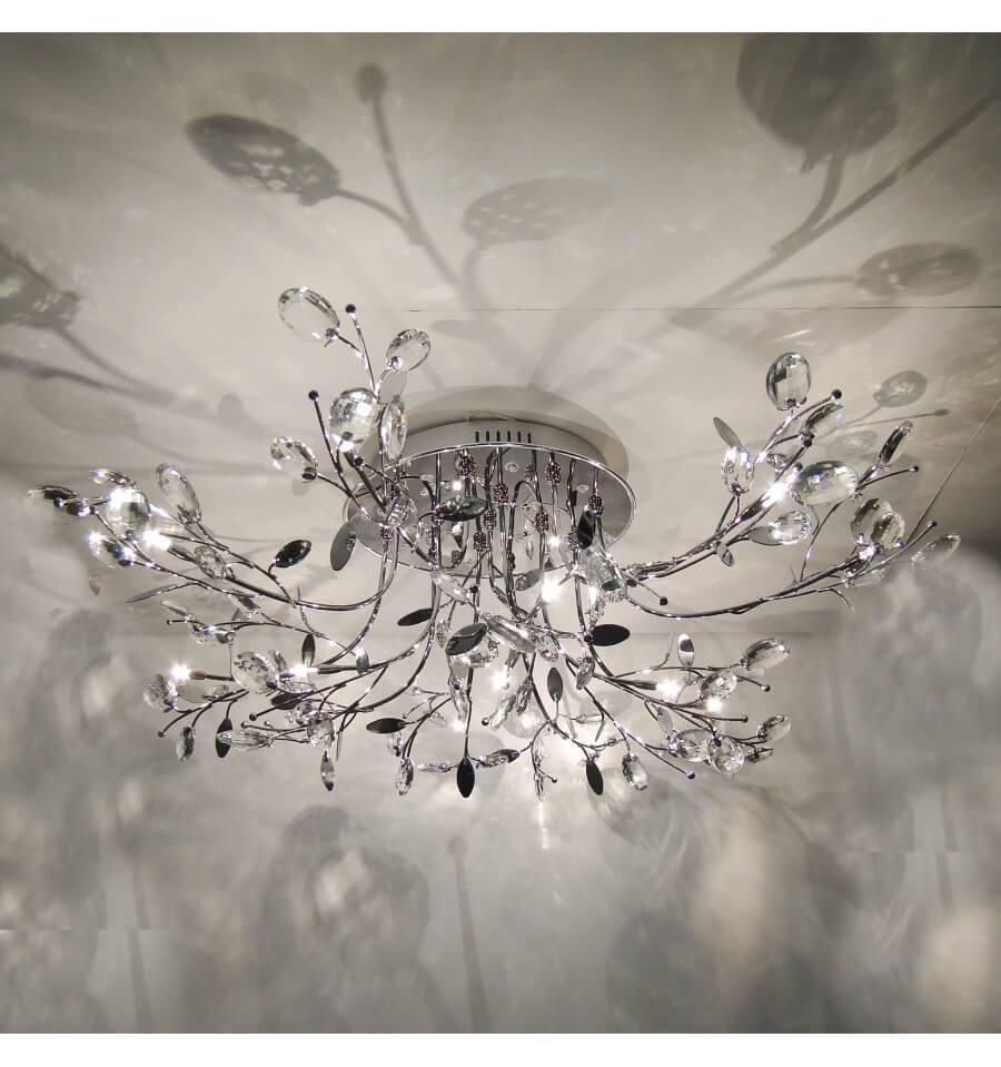 Plafondlamp chroom kristal LED met afstandsbediening Aiken
