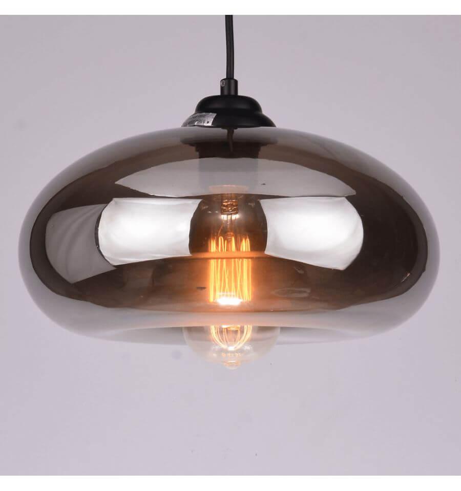 Hanglamp design  transparant glas swart 30 cm  E27  Ellipse