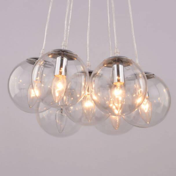 Hanglamp design meervoudig  7 ballen transparant glas E14