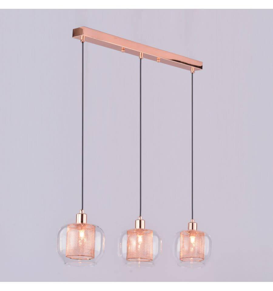 Hanglamp design koperen glas 3 licht  Acacia