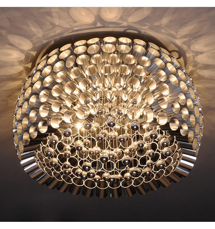 Flushmount Ceiling Light With Glass Pattern G9 Bulbs Lotus