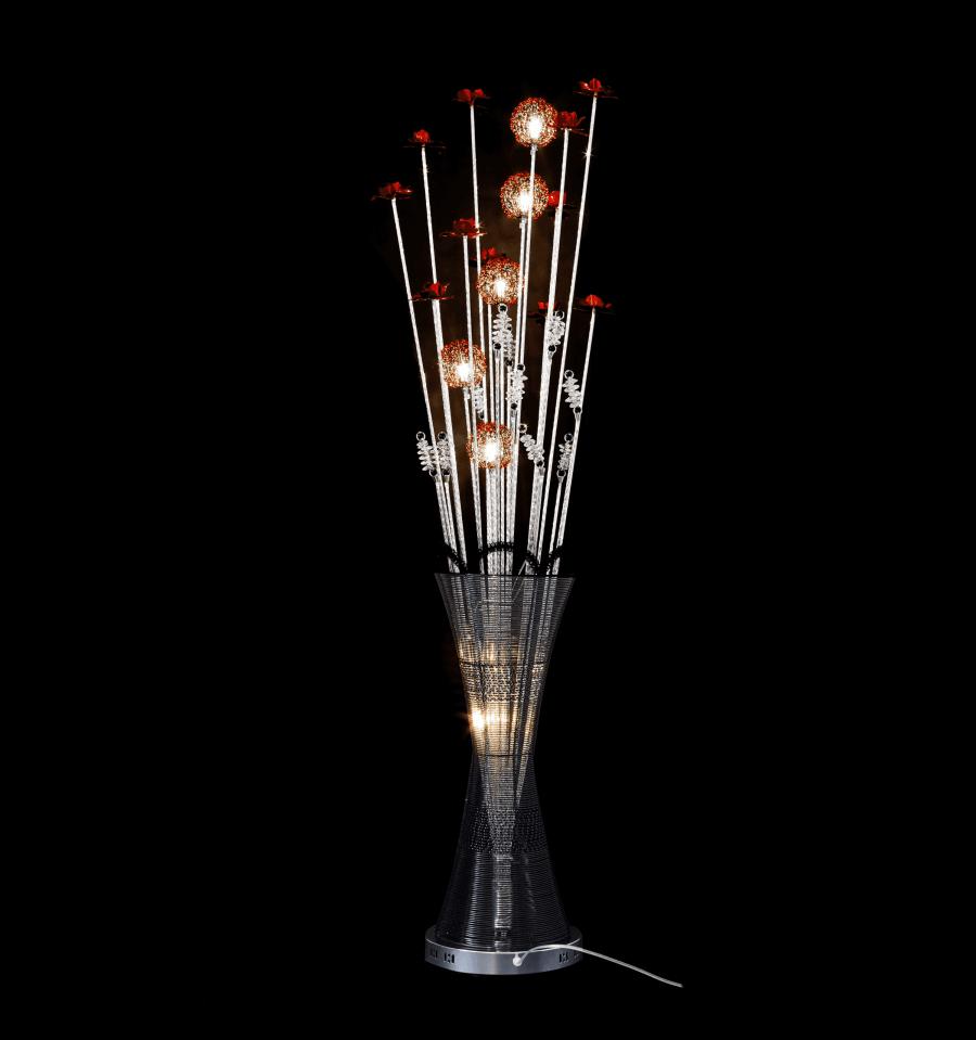 Grande lampe LED fleurs aluminium