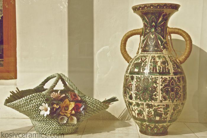 косівська кераміка, сграфіто, посуд, декор, кераміка, троць, ваза