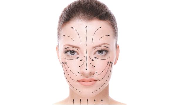 Massage des lignes sur le visage